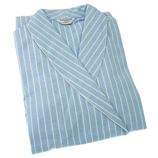 Ladies Dressing Gown - Blue and White Stripe Brushed Cotton - Bonsoir of London