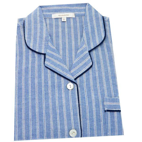 Guasch -Blue with White Stripe - Ladies Cotton Pyjamas