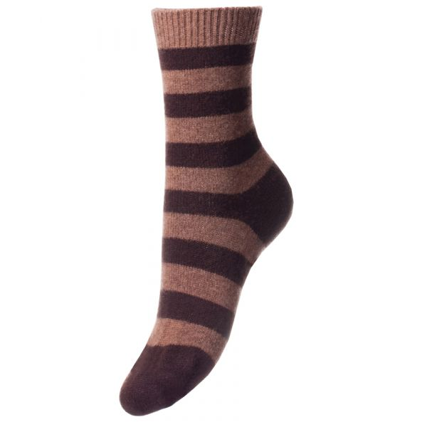 Mink and Chocolate Striped Ladies Cashmere Socks