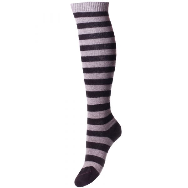 Black and Flannel Long Ladies Cashmere Socks