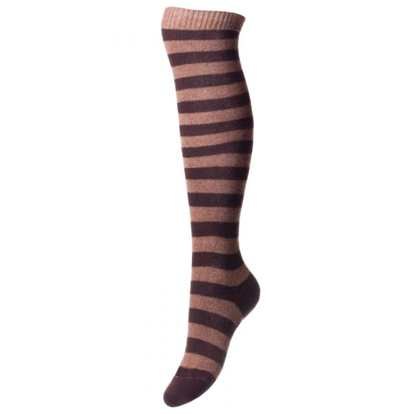 Mink and Brown Ladies Long Cashmere Socks