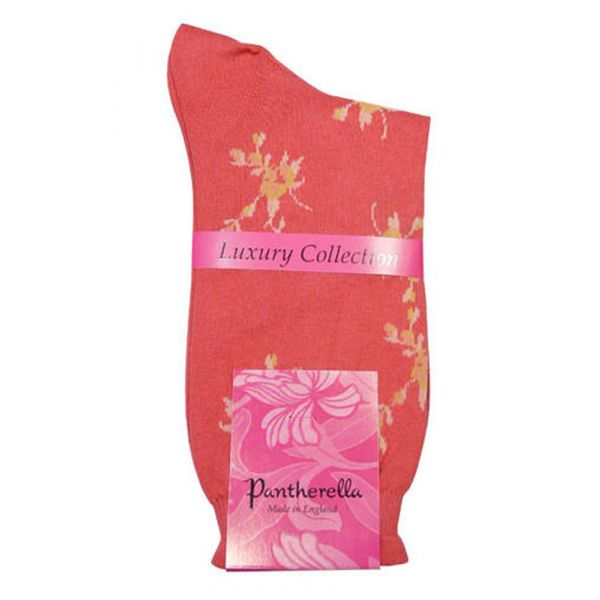 Coral English Flowers Ladies Sea Island Cotton Socks from Pantherella