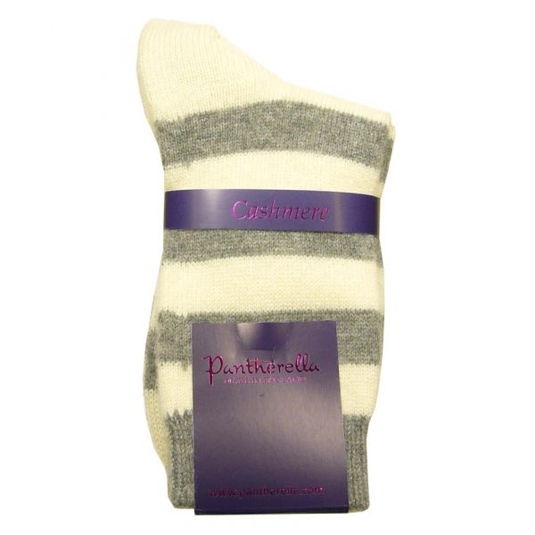 Grey Stripe Cashmere Ladies Socks