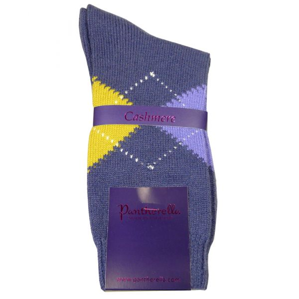Dark Blue Argyle Cashmere Ladies Socks
