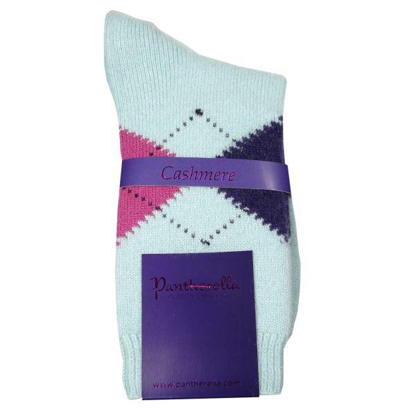 Ice Blue Argyle Cashmere Ladies Socks