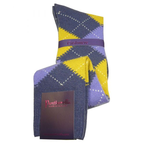 Dark Blue Argyle Cashmere Ladies Long Socks
