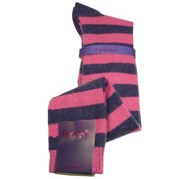 Damson Stripe Cashmere Ladies Long Socks