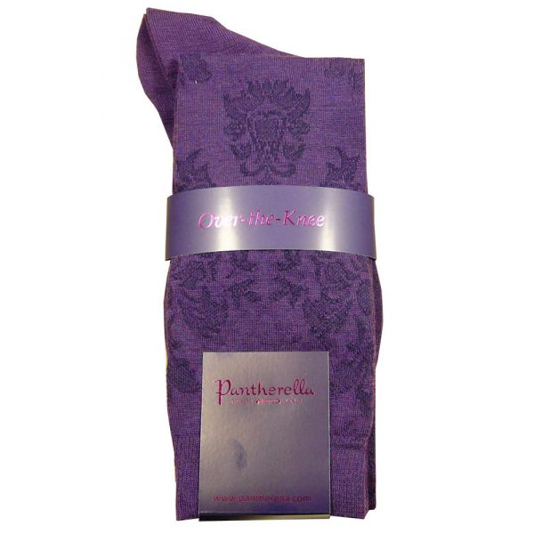 Ladies Long Purple Wool Sock with Brocade Design.
