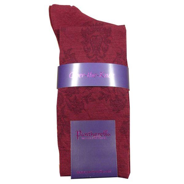 Ladies Long Wine Wool Sock with Brocade Design.