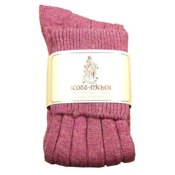 Ladies Long Shetland Wool Shooting Sock in Pink