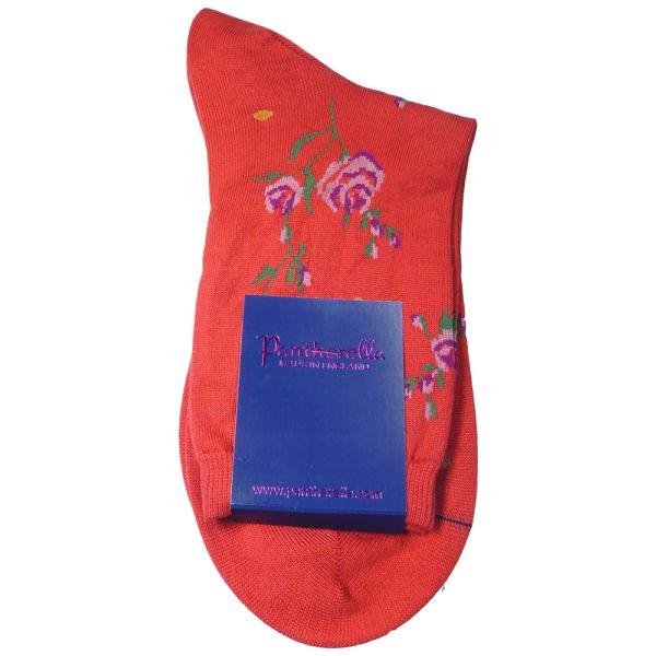 Scarlet Sea Island Cotton Sock with Rose Desgin.