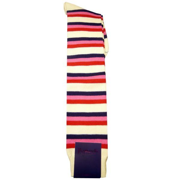 Long Cream Multi Striped Egyptian Cotton Socks