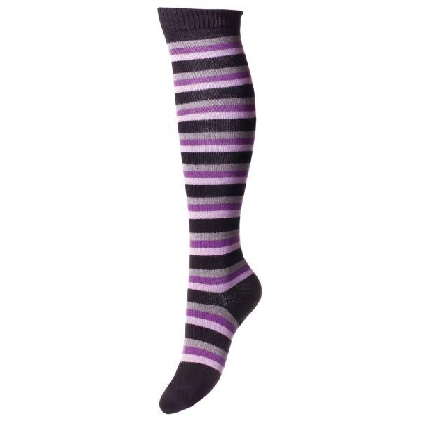 Long Black Multi Striped Egyptian Cotton Socks