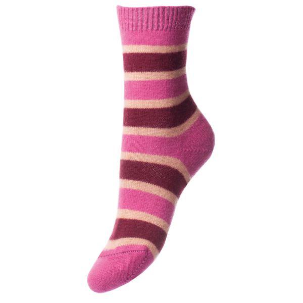 Damson Port And Camel Striped Cashmere Socks