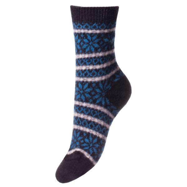 Black Nordic Fairisle Design Cashmere Sock