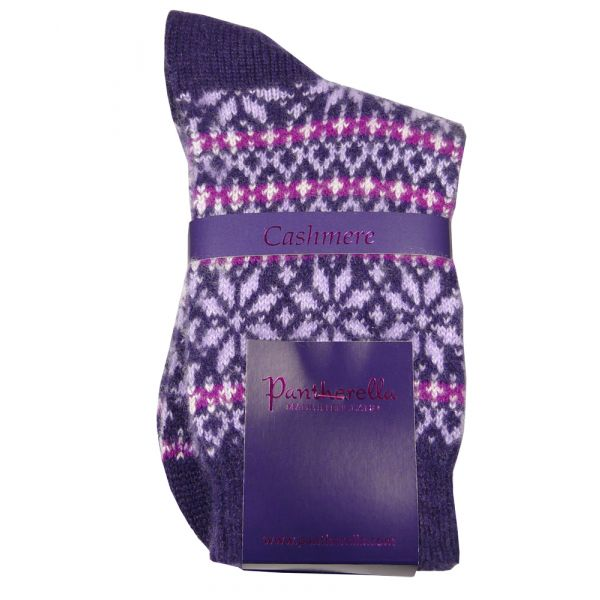 Plum Nordic Fairisle Design Cashmere Sock