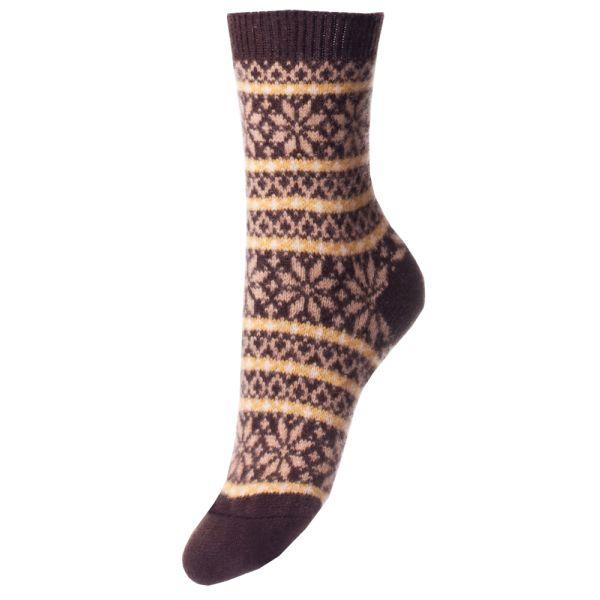Chocolate Nordic Fairisle Design Cashmere Sock
