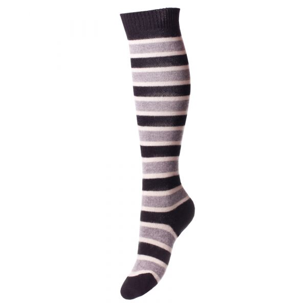 Black Grey and Cream Striped Long Ladies Cashmere Sock