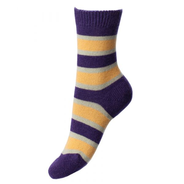 Plum Ochre and Cream Striped Cashmere Sock