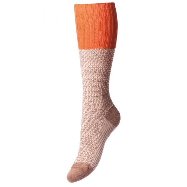Camel and Orange Moss Stitch Merino Wool Boot Sock