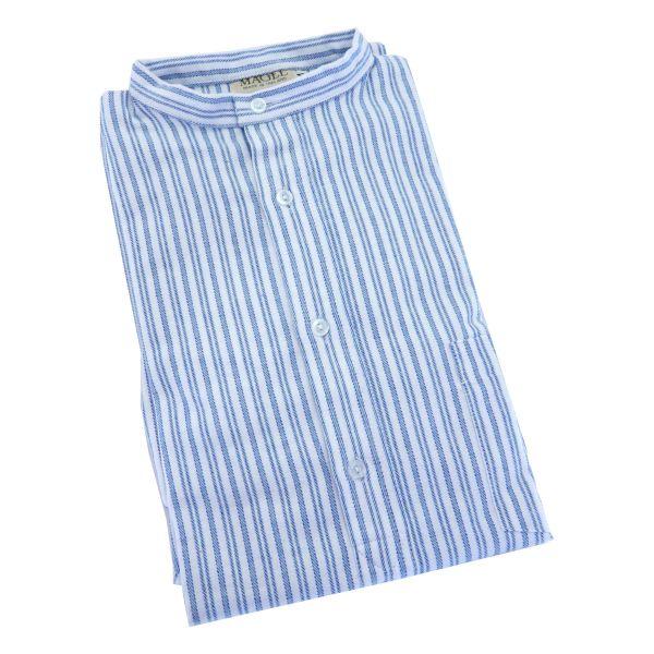 Blue Stripe Cotton Grandad Shirt From Magee