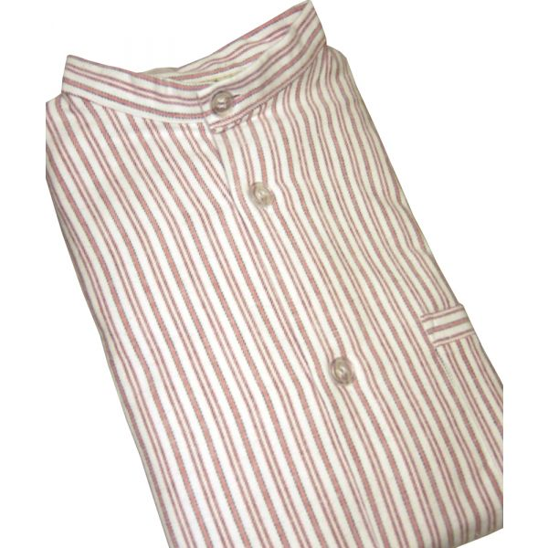 Red Striped Brushed Cotton Nightshirt by Magee of Donegal