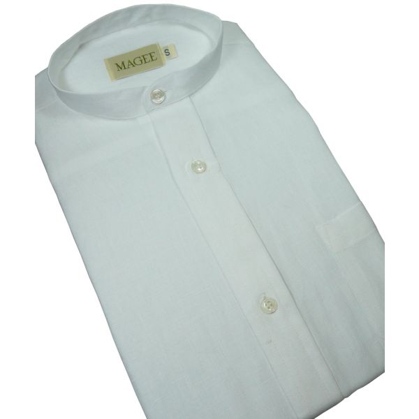 White Ulster Linen Grandad Collar Shirt from Magee