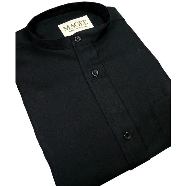 Black Ulster Linen Grandad Collar Shirt from Magee