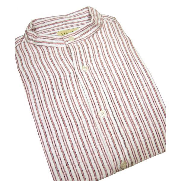 Red Stripe Cotton Grandad Shirt From Magee
