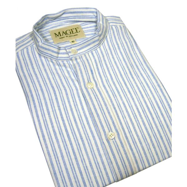 Blue Stripe Cotton Grandad Shirt From Magee