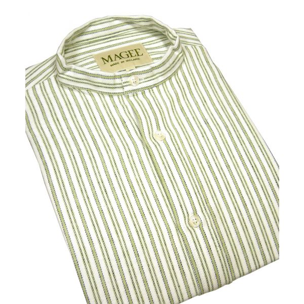 Green Stripe Cotton Grandad Shirt From Magee