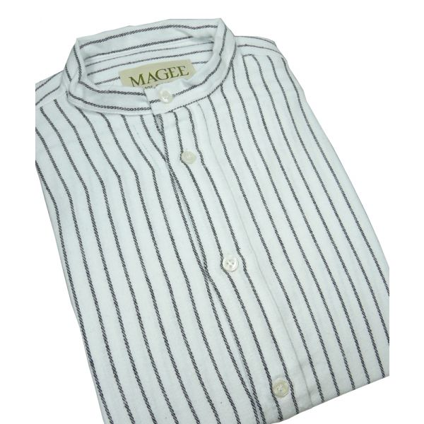 Black Stripe Cotton Grandad Shirt From Magee