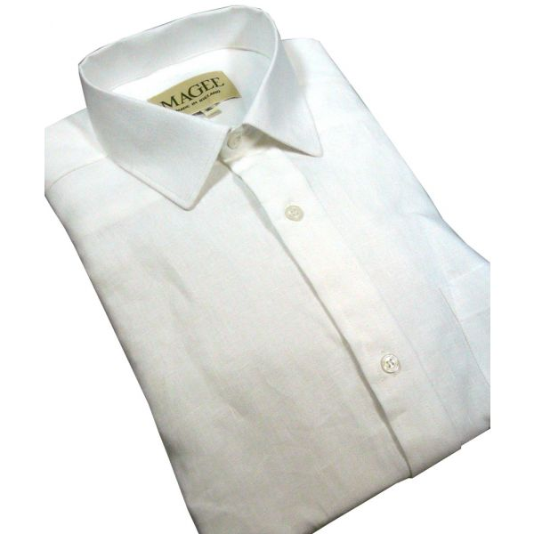 Regular Collar White Ulster Linen Shirt from Magee