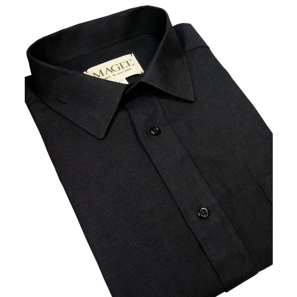 Regular Collar Black Ulster Linen Shirt from Magee