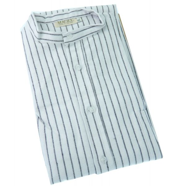 Black Striped Brushed Cotton Nightshirt from Magee of Donegal