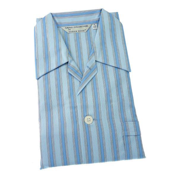 Derek Rose - Mayfair 74 - Mens Cotton Pyjamas in Blue Stripe - Tie Waist