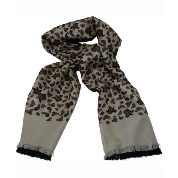 Mens Silk Scarf in Cream and Gold Paisley Design - Wool Backed