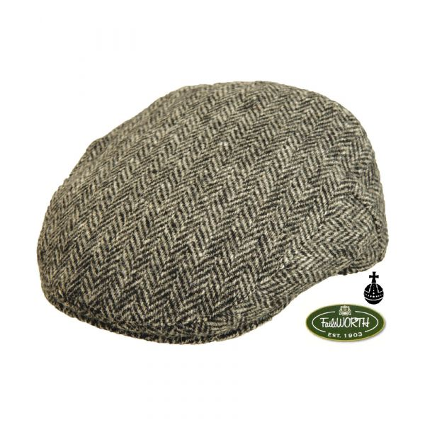 Stornoway Grey Harris Tweed Cap from Failsworth Hats