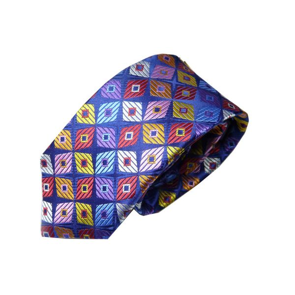 Limited Edition Silk Tie in Multi-Colour Diamond in Diamond Design from Van Buck