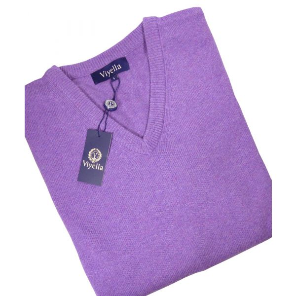 Purple V Neck Lambswool Jumper from Viyella