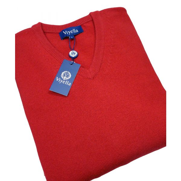 Red V Neck Lambswool Jumper from Viyella