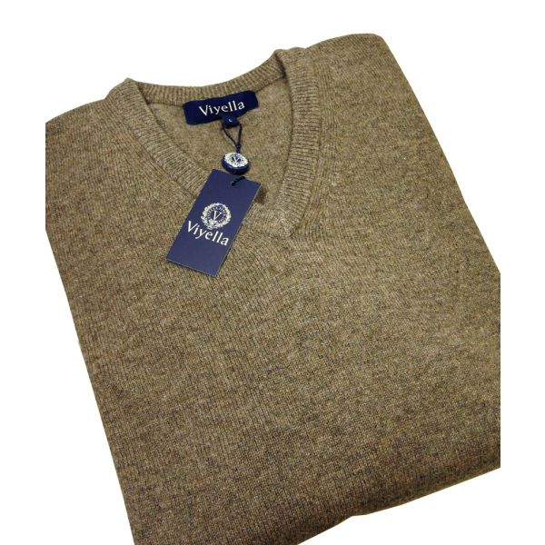 Fawn V Neck Lambswool Jumper from Viyella