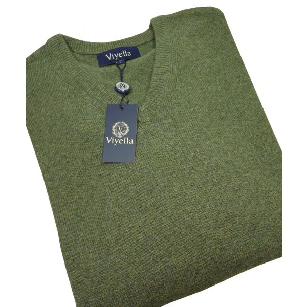 Lovat Green V Neck Lambswool Jumper from Viyella