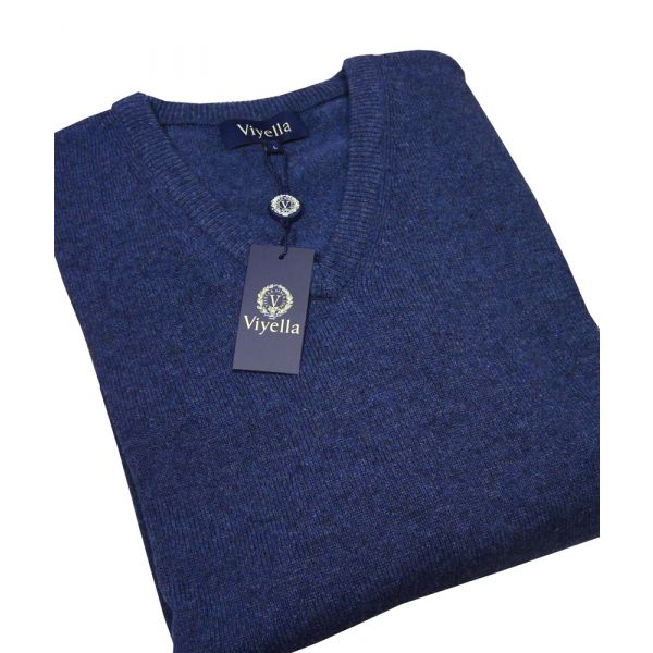 Denim V Neck Lambswool Jumper from Viyella