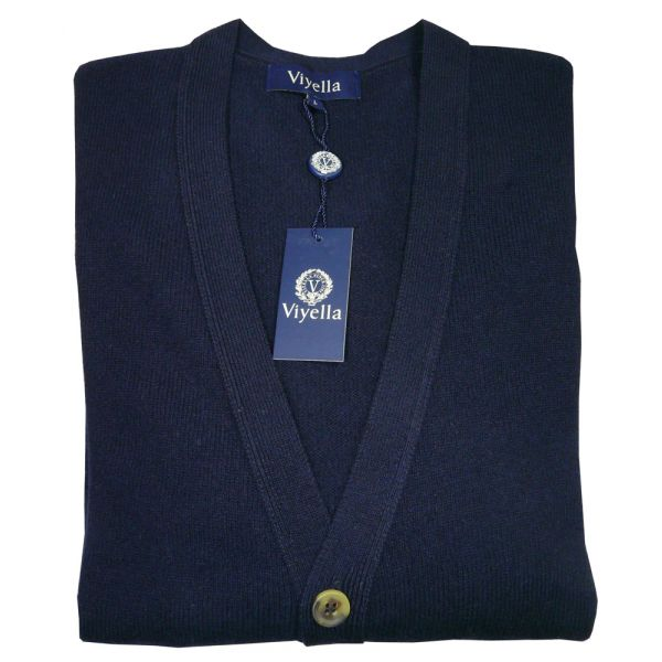 Navy Blue Lambswool Cardigan from Viyella