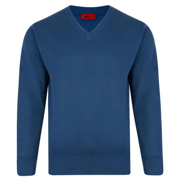 Gabicci V Neck Jumper in Denim Blue