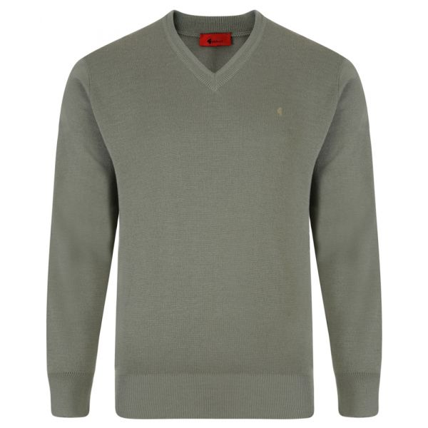 Gabicci V Neck Jumper in Olive Green