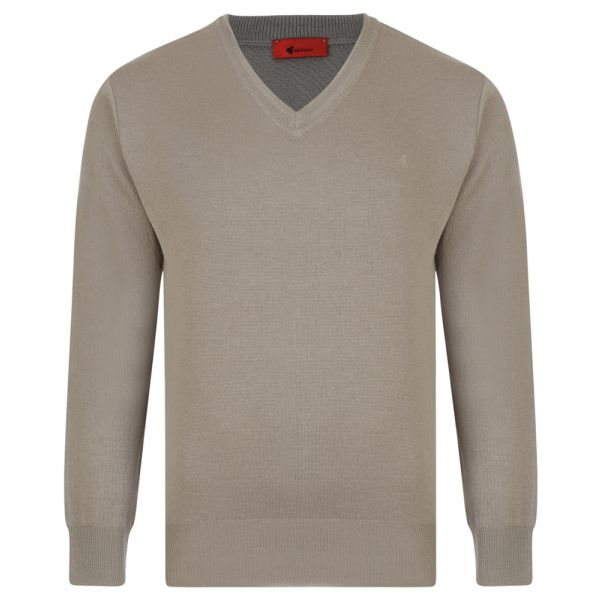 Gabicci V Neck Jumper in Stone