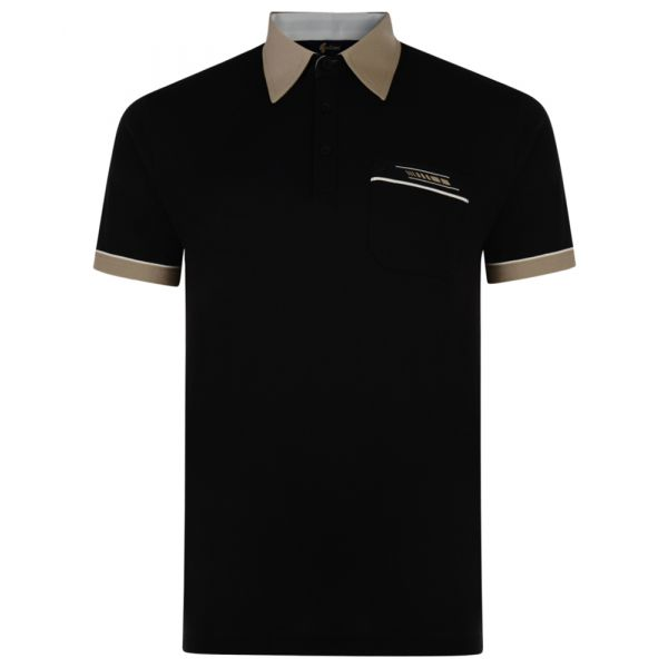 Classic Gabicci Polo Shirt in Black with Contrast Collar