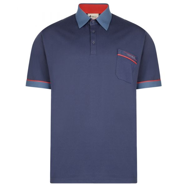 Classic Gabicci Polo Shirt in Navy with Contrast Collar